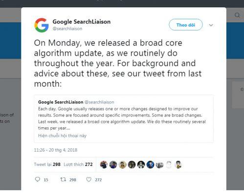 cap nhat thuan toan cua google tuan nay