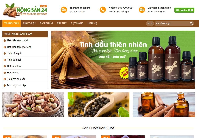 thiết kế website hạt điều