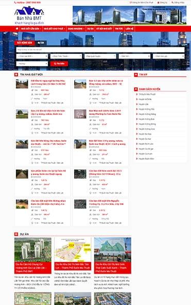 thiết kế website daklak bất động sản bmt